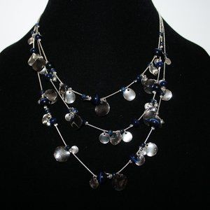 """Beautiful silver and blue layered necklace 16"""""""